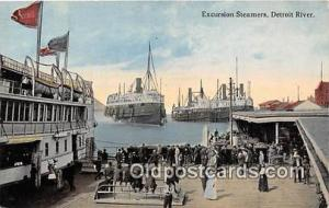 Excursion Steamers Detroit River Ship Postcard Post Card Detroit River Postca...