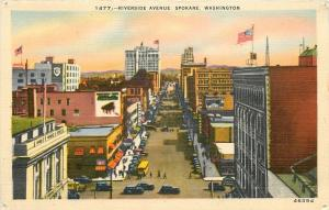 Spokane Washington~Riverside Avenue~Stores~1940s Linen Postcard