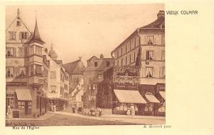 France Vieux Colmar Rue de l'Eglise Church Street M. Hertrich Pinx