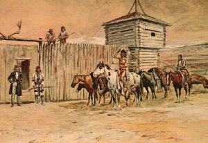 Vintage Postcard The Robe Traders By Charles Marion Rusell Tulsa Oklahoma Art
