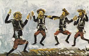 ARTIST Morris Katz, Jewish Theme Postcard; Dancing Chasidim, 1972