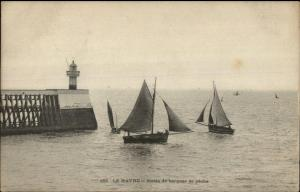 Le Havre France Lighthouse Phare & Fishing Boats c1910 Postcard