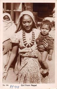 Girl from Nepal Holding Baby Real Photo Antique Postcard J40258