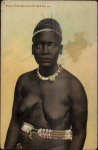 Zululan Zulu Black Woman Nude Bare Breasts c1910 Postcard