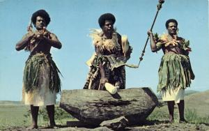 fiji islands, Native Men Beating the Lali Wooden Drum 1960s Caine's Studios 1006