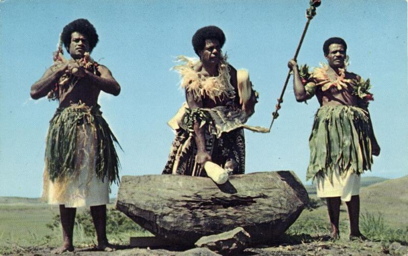 fiji islands, Native Men Beating the Lali Wooden Drum 1960s Caine's Studios 1006