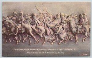 Stone Mountain GA~Gutzon Borglum Original Design For Confederate Monument~Linen