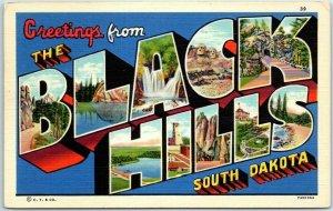 1940s BLACK HILLS South Dakota Large Letter Postcard Curteich Linen 7AH1364