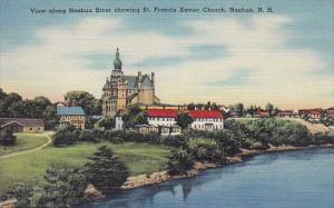 View Along Nashua River Showing Saint Francis Xavier Church Nashua New Hampshire