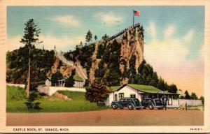 Michigan St Ignace Castle Rock 1938 Curteich