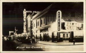 Reno NV Center st. at Night Real Photo Postcard