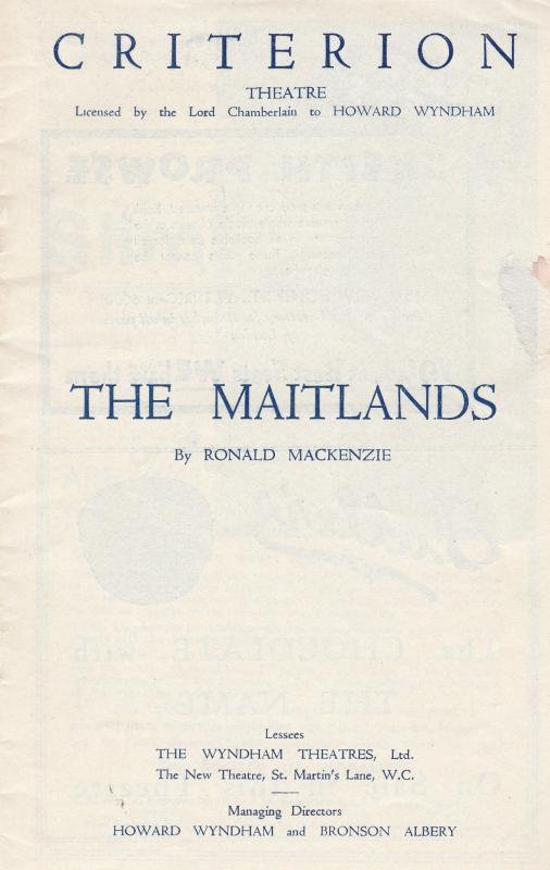 The Maitlands Drama John Gielgud Criterion London Theatre Programme