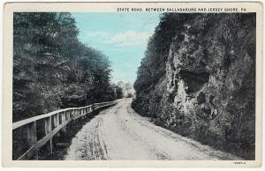 1929 State Road Between Salladasburg & Jersey Shore PA Lycoming Highway Postcard