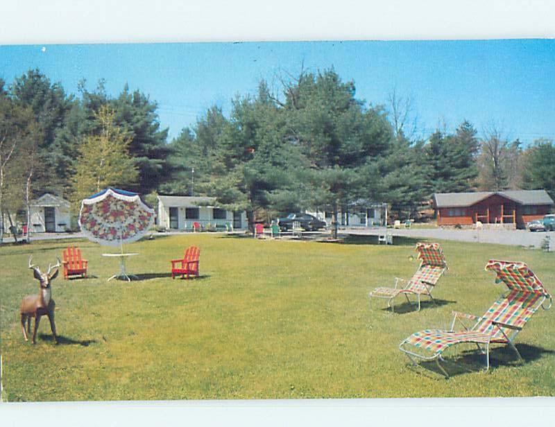 Pre-1980 MIDCENTURY MODERN LAWN CHAIRS AT LEE'S MOTEL Lake George NY c3972-23