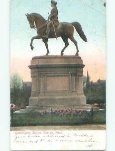 Bent Corner Pre-1907 PRESIDENT WASHINGTON STATUE Boston Massachusetts MA n5725