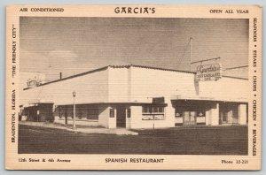 Bradenton FL~Garcia Spanish Restaurant~Art Deco Building~Neon Sign~1948 Linen