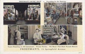 New Jersey Newark Friedman's Music Store Curteich