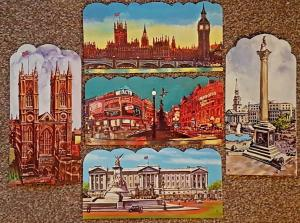 Set of 5 Large Format Die-Cut London Art Postcards, Famous Landmarks NEW