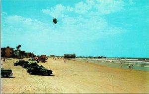 Vtg Chrome Postcard 1950s Daytona Beach Florida FL Blimp beach Casino Cars UNP
