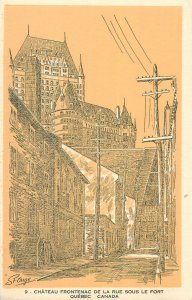 Postcard Canada chateau frontenac de la rue sous le fort quebec drawing street