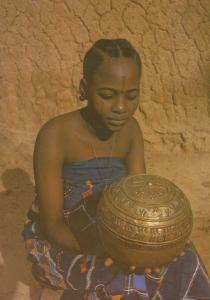 Nigeria Brass Bowl from Kano Zarai City Nigerian Woman Costume Postcard