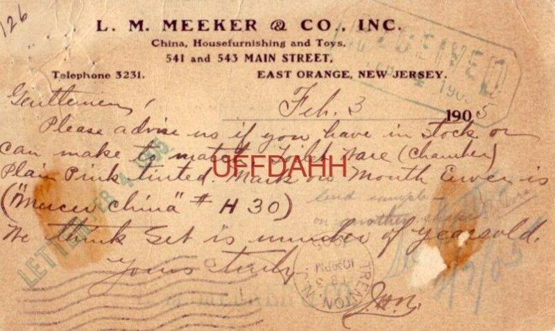 1905 L. M. MEEKER & CO., INC. China, Housefurnishing and Toys EAST ORANGE, NJ