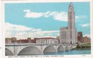 Ohio Columbus Broad Street Bridge City Hall and American Insurance Union Cita...