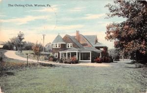 Warren Pennsylvania Outing Club Exterior Street View Antique Postcard K24953