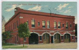 Central Fire Station South Bend Indiana 1911 postcard