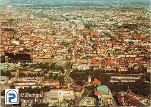 München Penta Hotel Munich Germany Aerial View Vintage Postcard C3
