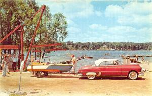 Frazier's Beach IN And Boat Landing Chevrolet Old Boat Trailer Postcard