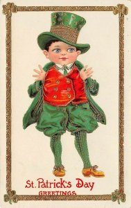 LP31    St Patrick's Day Postcard Irish Holiday Postcard Gel Finish Top Hat