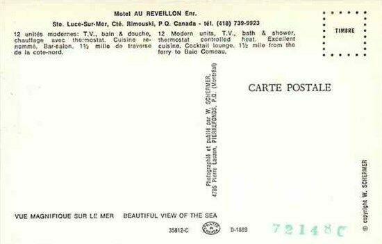 Canada, Quebec, Cte Rimouski, Motel Au Reveillon Enr, W. Schermer 35812-C