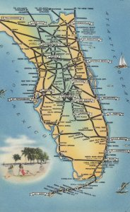 FLORIDA Road Map , 1930-40s