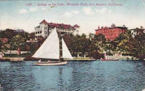 Sailing on the Lake, Westlake Park, Los Angeles, California, PU-1920