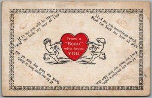 Vintage VALENTINE'S DAY Postcard From a Beau Who Loves You Cupids 1910 Cancel