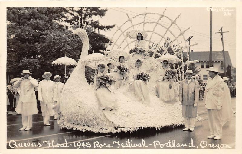 F25/ Portland Oregon RPPC Postcard c1940s Queens Float Rose Festival