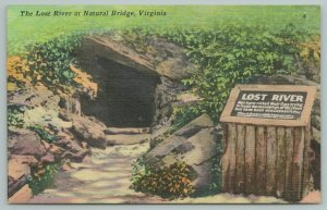 Natural Bridge Virginia~Lost River Entrance & Sign~Vintage Postcard