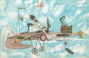 Rare military satire plane bombing kaiser caricature plane traveling to eternity