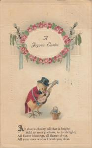 EASTER, PU-1921; A Joyous Easter, Dressed Chick playing an instrument