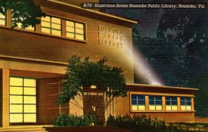 VA - Roanoke. Public Library at Night