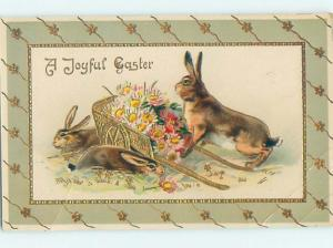Pre-Linen easter tuck BUNNY RABBITS WITH WHEELBARROW FULL OF FLOWERS hr1755