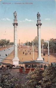 Spain Sevilla - Alameda de Hercules, tramway, tram, carriage, cart 1916