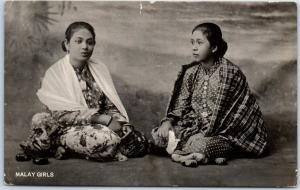 Vintage Malaysia RPPC Real Photo Postcard MALAY GIRLS 1925 France Cancel