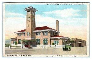 BUTTE MT Montana ~ C, M & St Paul RAILWAY DEPOT 1921 Silver Bow County Postcard