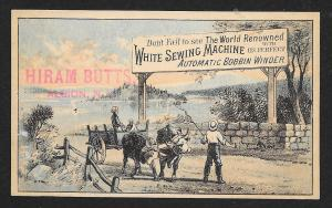 VICTORIAN TRADE CARD White Sewing Co Family Ox Cart Shore 'Automatic Bobbin'