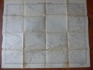 255892 USSR 1955 year polar aviation BIG Blank map of Arctic