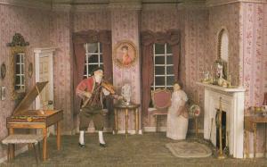 Yorkshire Victorian Man Serenading Wife Violin Waxwork Model Exhibit Postcard