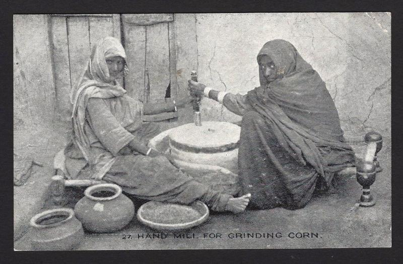 India vintage postcard HAND MILL FOR GRINDING CORN Pub. D C Mehra, Cherat Hill