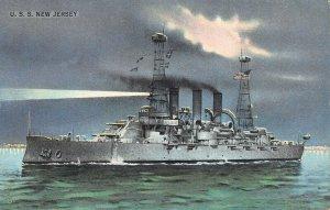 U.S.S. New Jersey, Battleship, Early Postcard, Unused